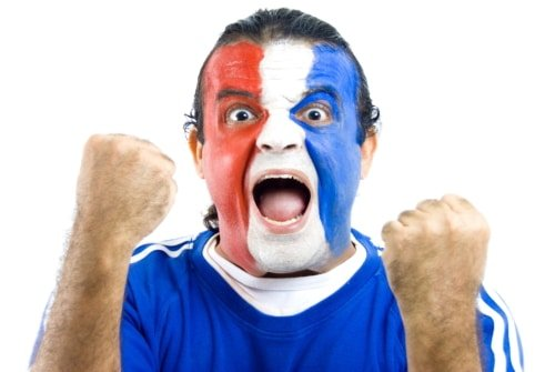 Happy French Supporter on white background .
